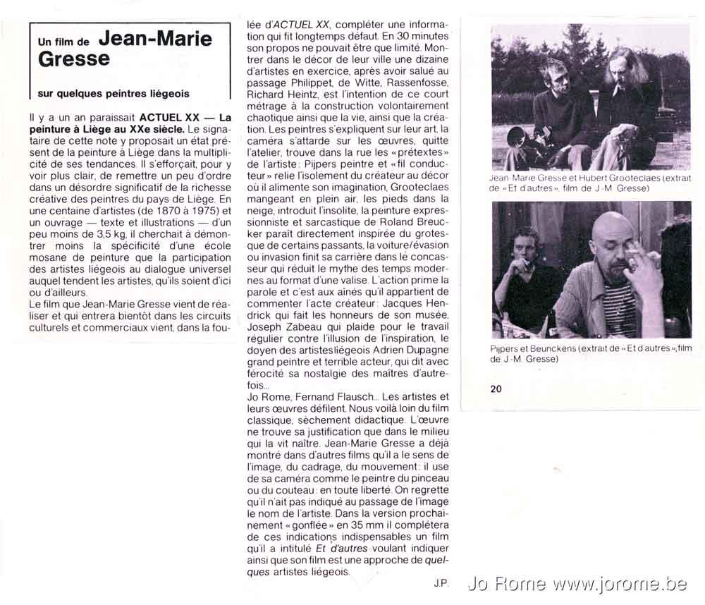Peintres liégeois du 20e siècle, Et d'autres, film de Jean-Marie Gresse, article