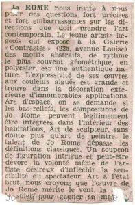 Sculptures en polyester, Galerie Racines à Bruxelles, 1966, extrait de journal