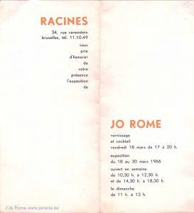 Exposition de l'artiste liégeois, galerie Racines, 1966