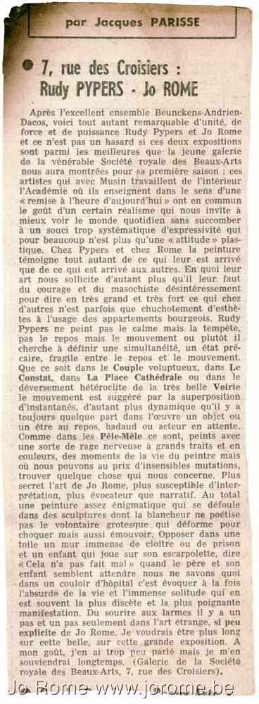 L'appréciation de Jacques Parisse sur l'exposition de peinture aux Chiroux