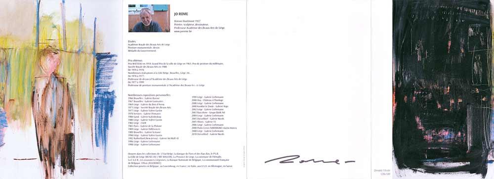 Jo Rome, dépliant de présentation de l'artiste, peintre et sculpteur belge contemporain, 2010, recto