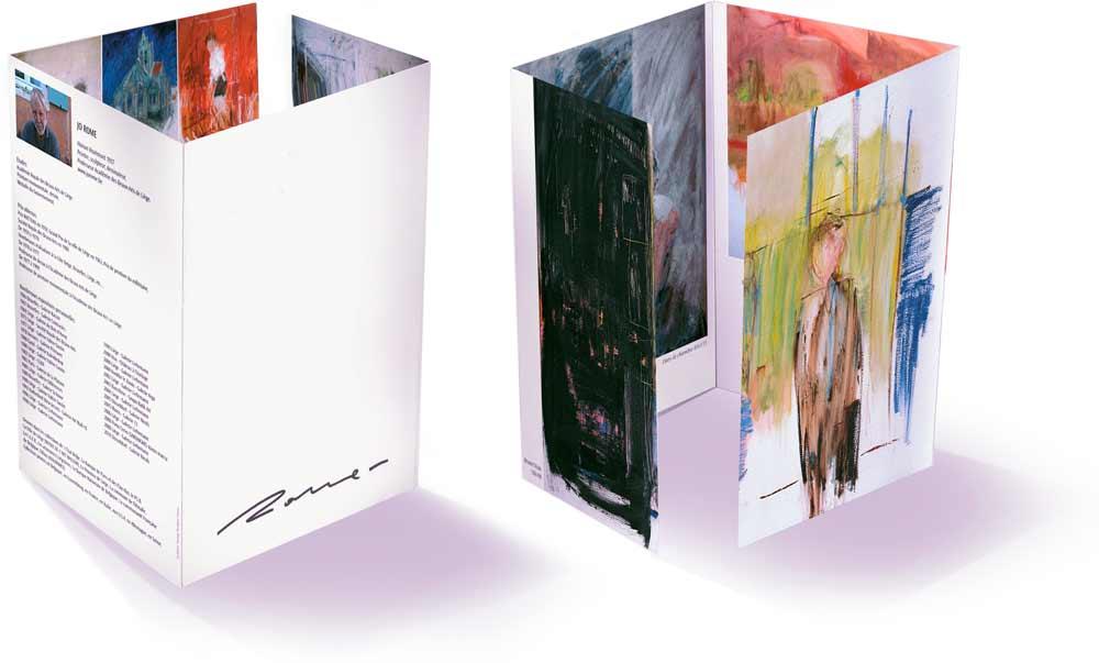 Dépliant pour présenter la biographie de l'artiste belge Jo Rome, les prix qu'il a reçu, ses activités et ses œuvres