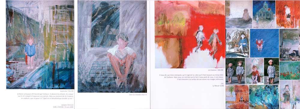 Peintures et sculptures rehaussées de couleurs. Les personnages sont brossés rapidement, se mêlant aux coups de pinceau spontanés et fougeux de leur environnement.