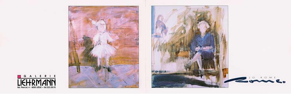 Dépliant imprimé présentant deux peintures signées par l'artiste liégoies contemporain Jo Rome. Une toile représente une petite fille en tutu, l'autre représente la mère de l'artiste. Celle-ci est assise les jambes croisées.