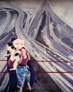 Enfant et autoroute, huile sur toile, collection province de Liège