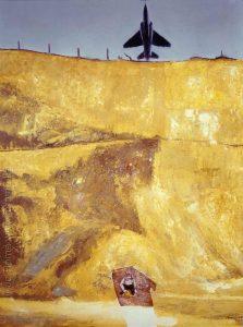 Peinture, Enfant à la carrière et un avion de chasse