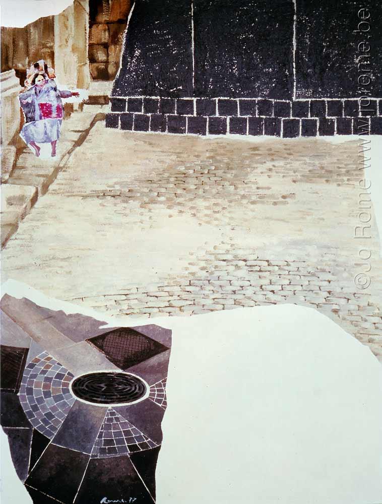 Enfant au pavement, huile sur toile, 80x100, collection état belge