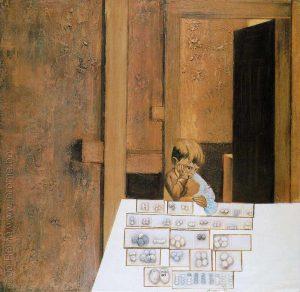 Enfant aux œufs, peinture sur toile, Jo Rome (artiste belge)