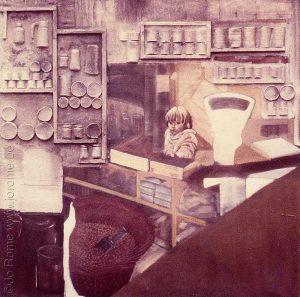 Enfant derrière le comptoir du magasin, 160x160