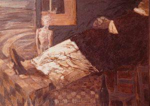 Le défunt à la nappe à carreaux, 150x120. (Peintre fédération Wallonie Bruxelles)