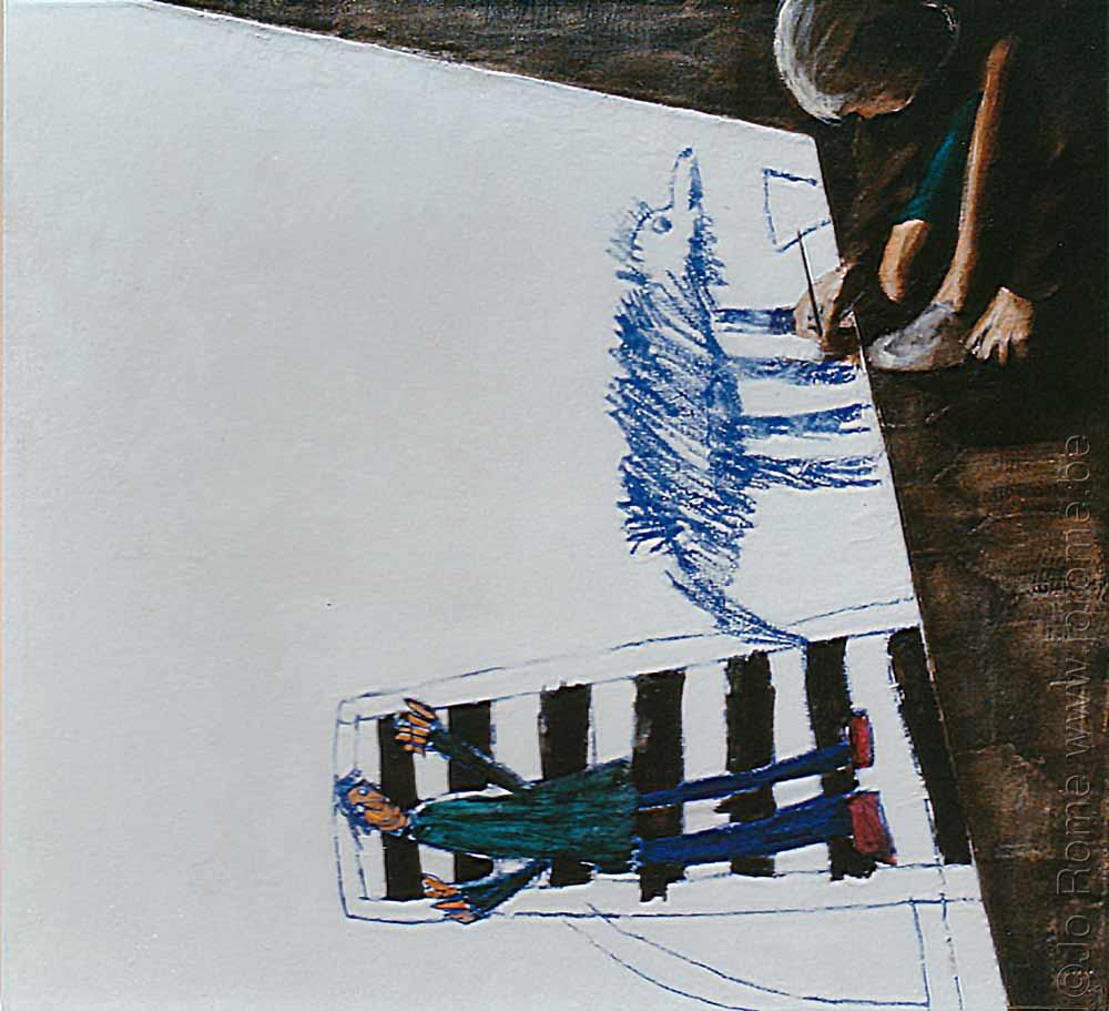 Julien peint papa et julie, peinture de chevalet belge, 125x120