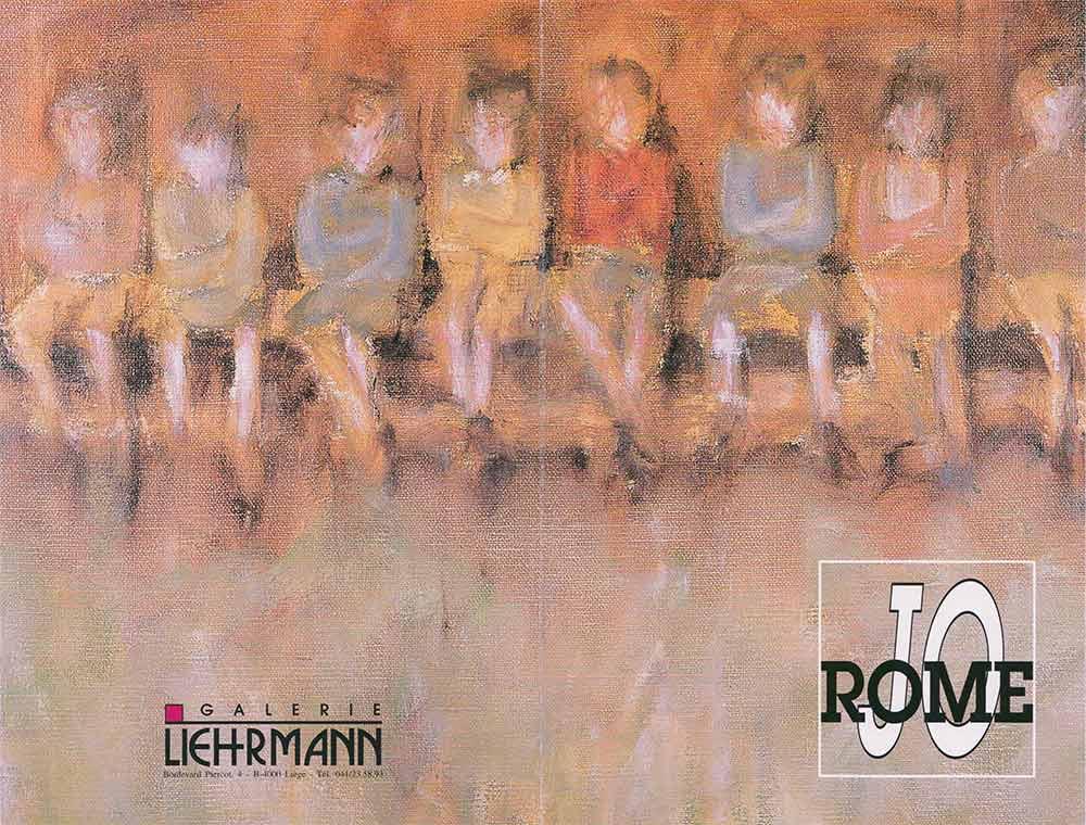 Jo Rome, dépliant de présentation de l'exposition de peintures à la Galerie Liehrmann, recto, 1996