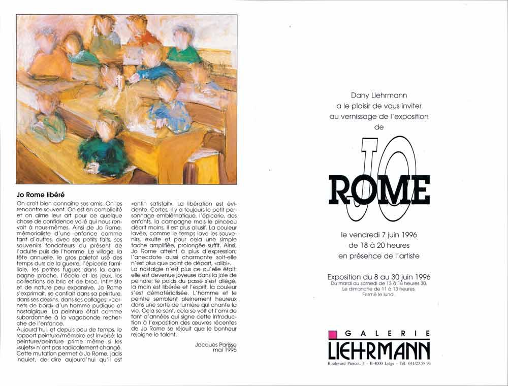 Jo Rome, dépliant de présentation de l'exposition de peintures à la Galerie Liehrmann, verso, 1996