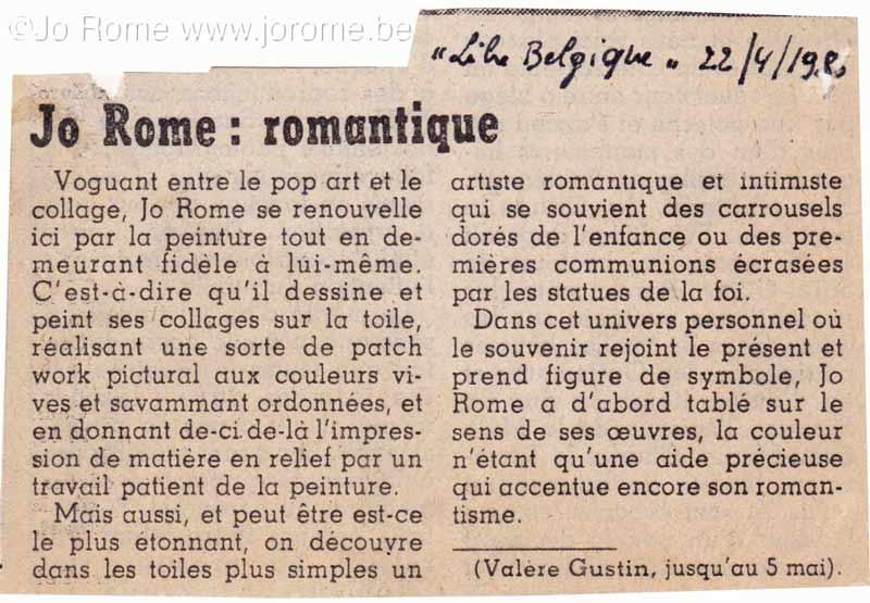 Jo Rome romantique, La Libre Belgique, avril 1980