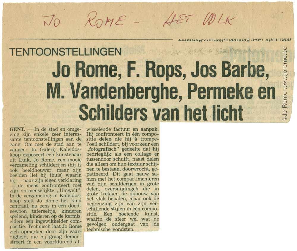 Tentoonstellingen, Jo Rome, Het Volk, 1980