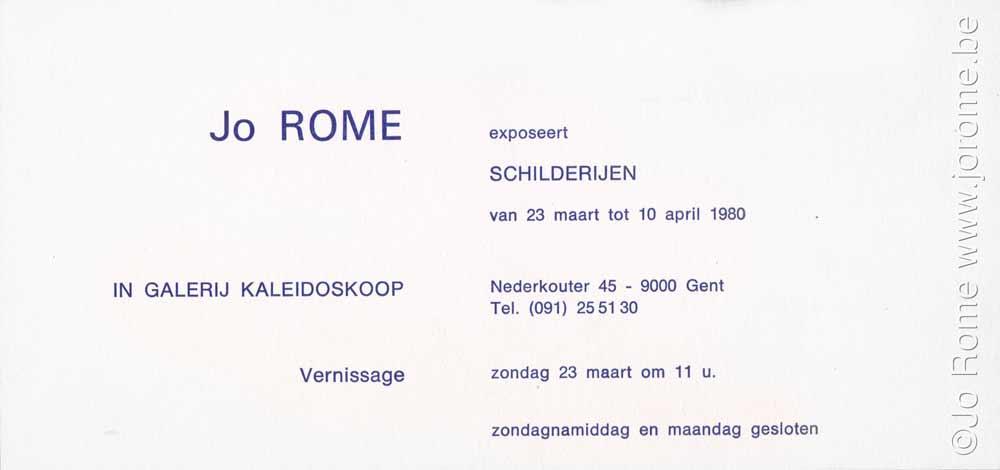 Tentoonstelling, Galerij Kaleidoskoop, carton d'invitation, 1980