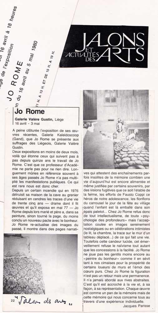 Jalons des arts, Galerie Valere Gustin, 1980