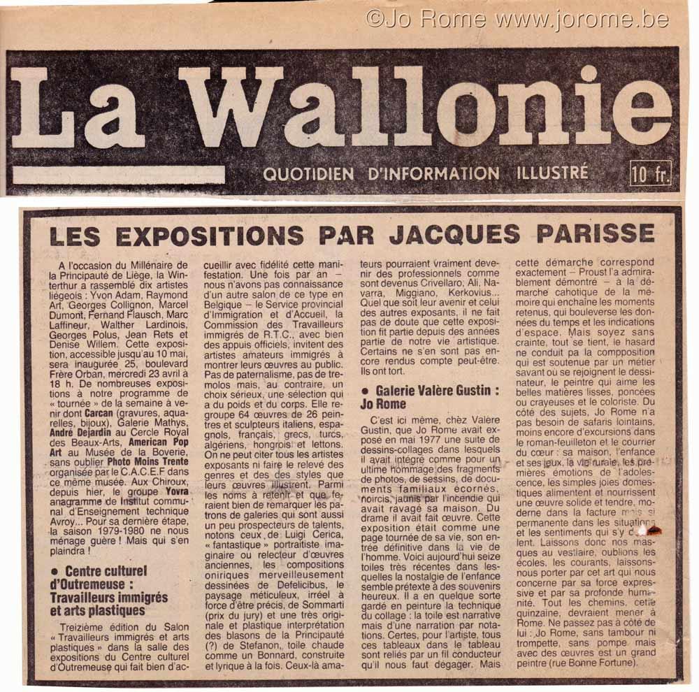 Les expositions de peinture contemporaine belge, par Jacques Parisse