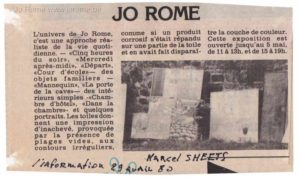 Jo Rome expose, L'information, Marcel Smeets, 1980