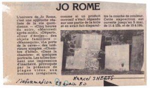 Jo Rome expose, L'information, Marcel Smeets, 1980