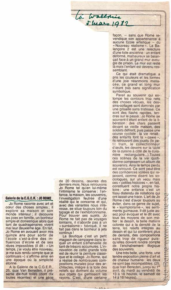 Galerie de la banque CGER, article de presse du journal La Wallonie, 1982
