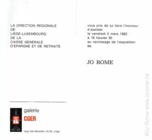 Banque CGER, exposition de peintures de l'artiste Jo Rome, 1982