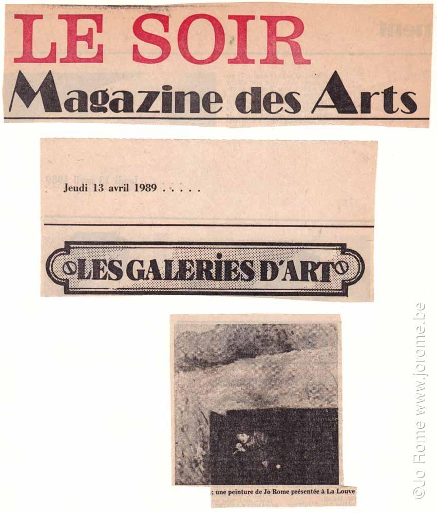 Magazine des arts, journal Le Soir, 1989