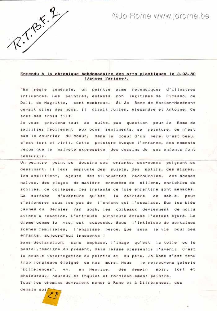 Radio: La chronique hebdomadaire des arts plastiques par Jacques Parisse, 1989