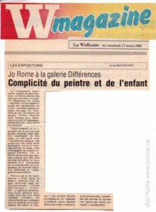 Beaux-arts contemporains: Jo Rome à la Galerie Différences, 1989