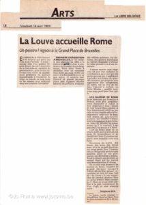Exposition à Bruxelles, Galerie La Louve, article La Libre Belgique, 1989