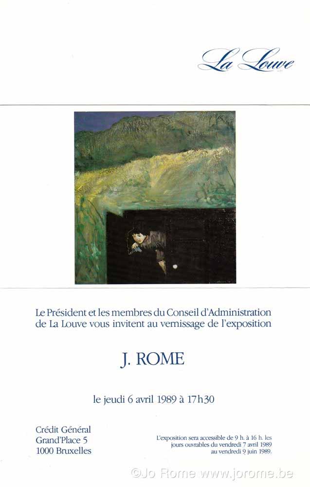 Exposition du peintre contemporain Jo Rome à la Galerie La Louve, Bruxelles, mars 1989