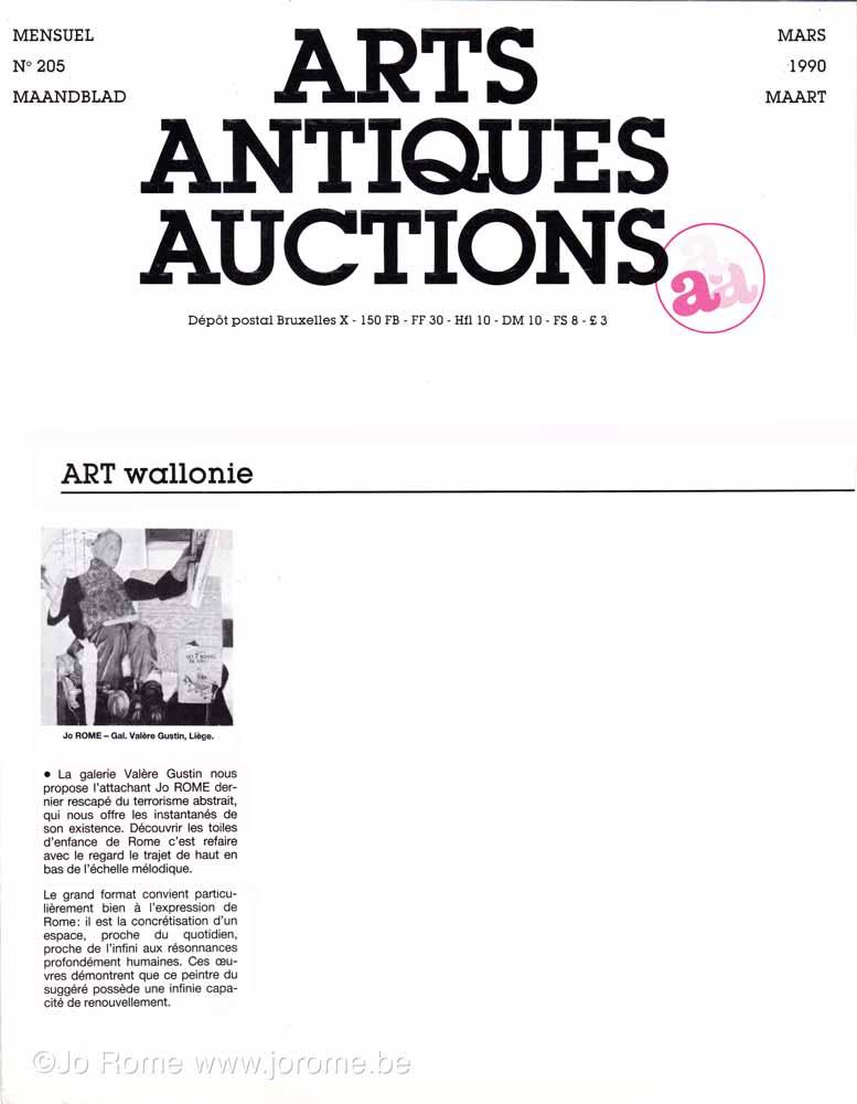 Jo Rome, Arts Antiques Auctions, article de 1990