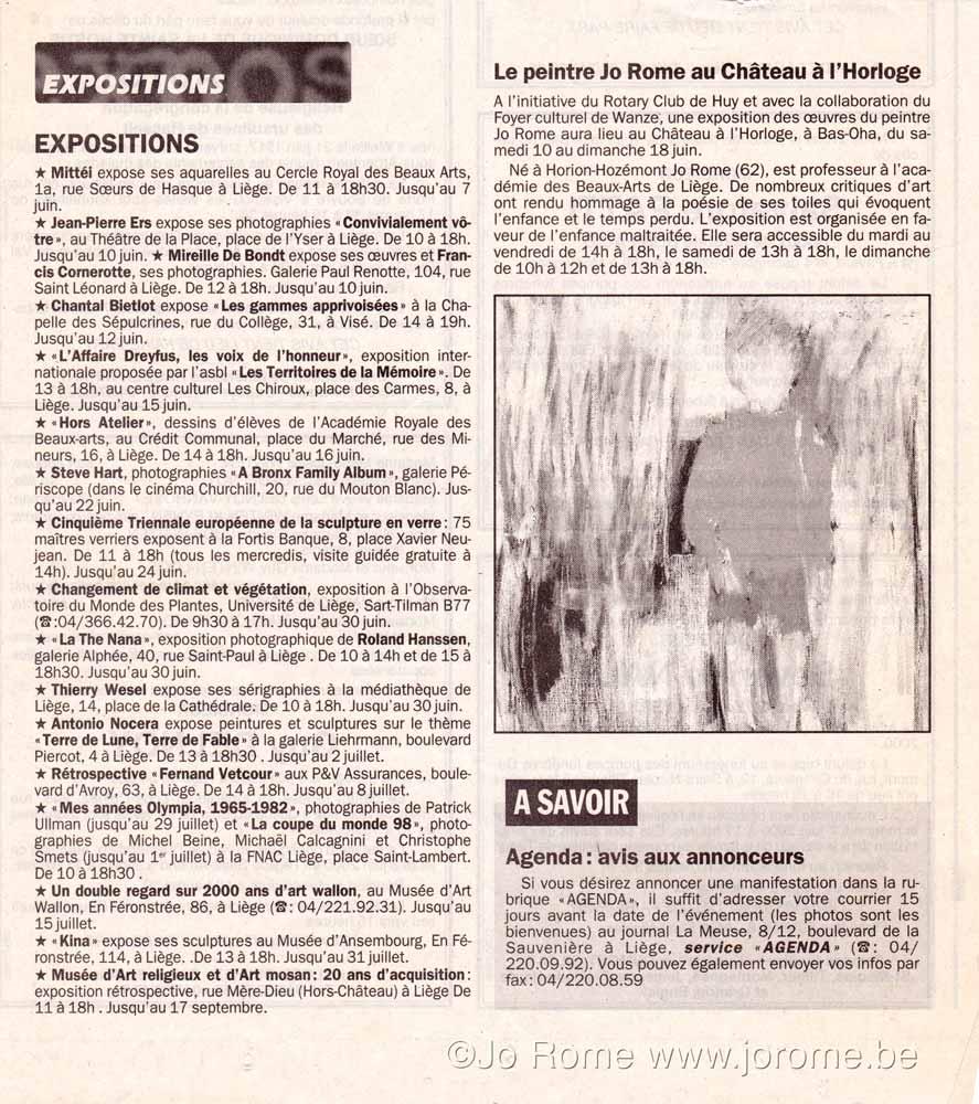 Exposition à l'Horloge, article journal La Meuse, 2000