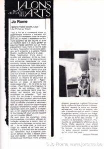 Jalons des arts, actualités des arts, Galerie Valère Gustin, Jacques Parisse, 1980