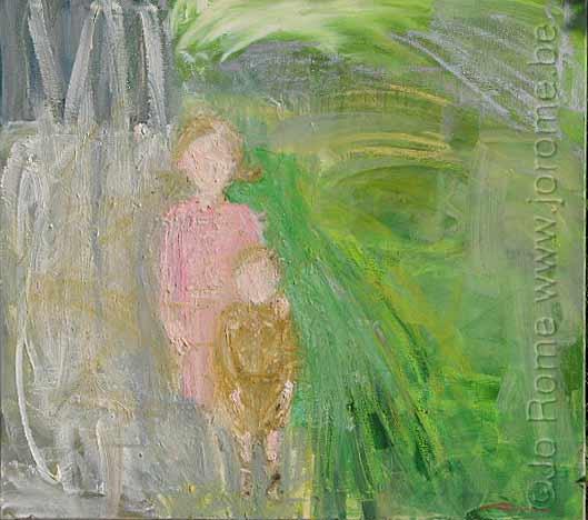 jro058 peinture contemporaine intitulee avec ma soeur 2006 tp 2