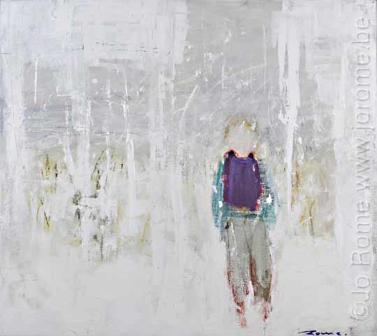 jro113 peintre belge contemporain jo rome echarpe mauve 90x100 2009 tm
