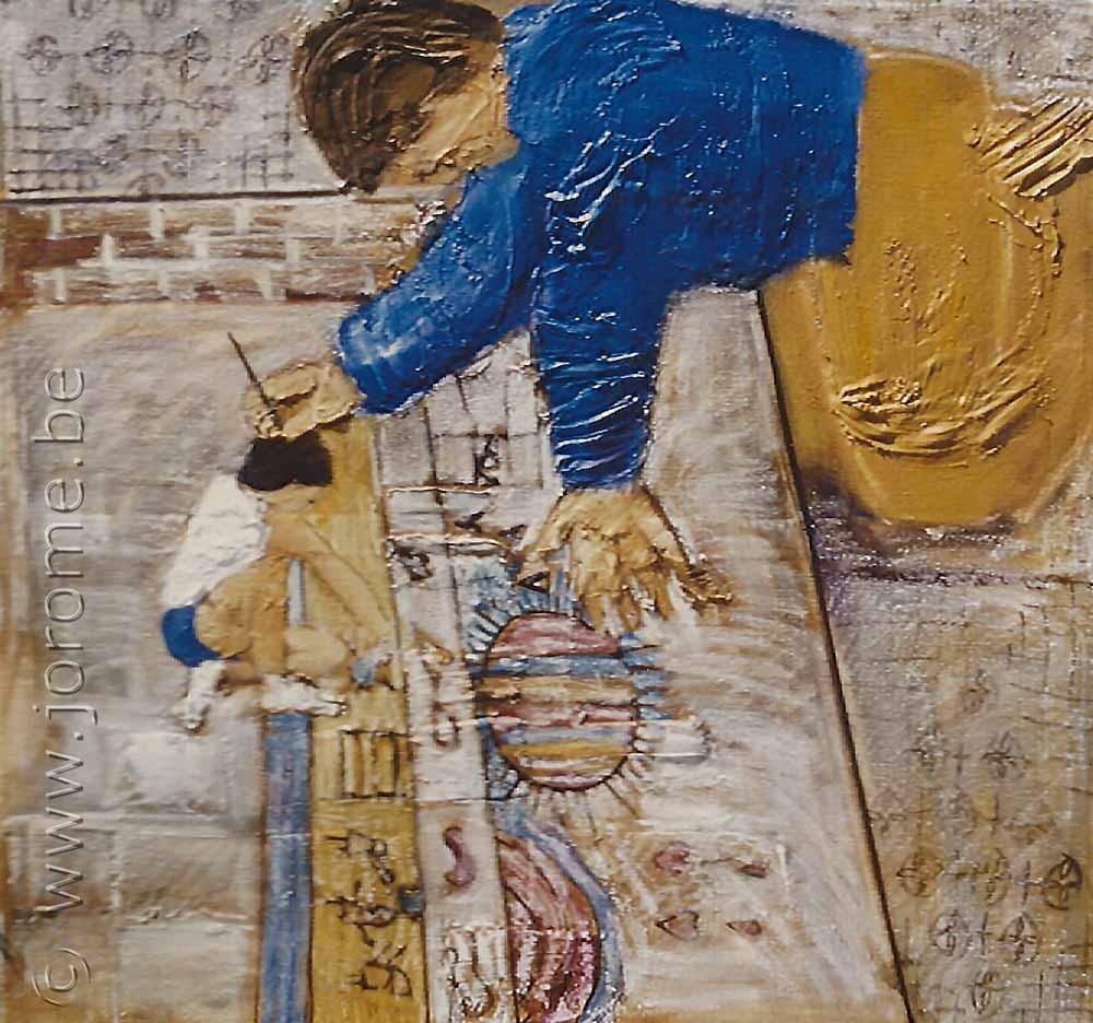 Le peintre peint l'enfant qui dessine