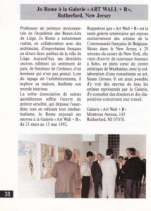 Jo Rome à New York, revue W+B Wallonie Bruxelles